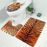 3PCS Toilet Rug Contour Carpet Non Slip Floor Mat Lid Toilet Cover Sets For Bathroom Kitchen