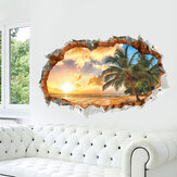 Miico Creative 3D Sunshine Beach Coconut Palm Broken Wall Removable Home Room Decorative Wall Door Decor Sticker