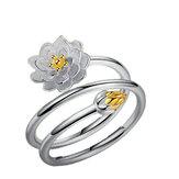Anelli regolabili placcati argento Fiore solido di fascino di loto