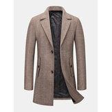 Casacos de couro de bolso masculino com espessamento quente e cor sólida