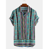 Mens Ethnic Style Pattern Printed Summer Loose Casual Shirts