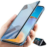 Bakeey for POCO F3 Global Version Case Foldable Flip Plating Mirror Window View Shockproof Full Cover Protective Case