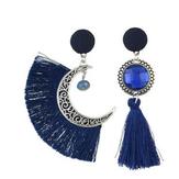 Bohemian Crystal Moon Drop Pendientes Cuelga la mujer Pendientes