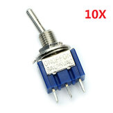 3 Pins Toggle Wippe Schalten ON / OFF / ON SPDT 10pcs MTS-103 AC 125 V 6A Wendao