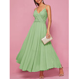 Lace Patchwork Strapless Big Swing Party Maxi Dress