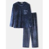 Conjunto de pijamas de flanela de inverno masculino em volta do pescoço solto Calças