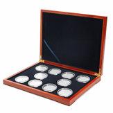 Rechthoekige muntendoos van Oak Coin Houder voor 10 munten NGC PCGS Grade Collection-displaydoos