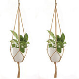 2Pcs Plant Flower Hanger Macrame Jute for Indoor Outdoor Ceiling Deck Balcony Round and Square Pots