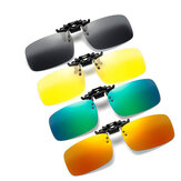 Hommes Femmes Polarized Clip On Sunglasses For Driving Cycling Night Vision Yellow Square Sun Lunettes With Clips Unisex