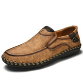 Men Hand Stitching Leather Slip On Soft Sole Casual Shoes