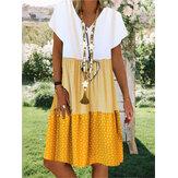 Mini-robe à manches courtes col V imprimé patchwork à rayures