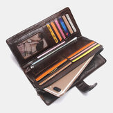 Men Genuine Leather Vinatge Long Wallet Clutches Bag Phone Bag