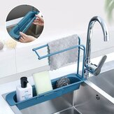 Multifunctional Telescopic Sink Holder Large Capacity Expandable Extensible Sponge Towls Sundries Phone Tablet Storage Rack in Kitchen