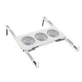 Simple White Laptop Cooling Stand Three Fans Foldable Laptop Tablet Cooling Base With RGB Lighting