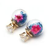 Trendy Renkli Kristal Cam Top Çiçek Yuvarlak Küpeler