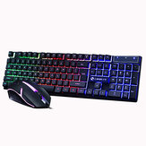 104 Keys Gaming Keyboard USB Wired RGB Backlight Multi-Colored Changing Ergonomic Optical Keyboard and Mouse Set for PC Gamer Laptop