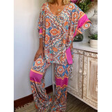 Women Vintage Ethnic Print Patchwork V-Neck Casual Two Piece Set