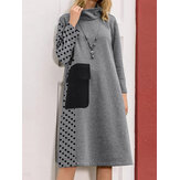Women Patchwork Polka Dot Print Drop Shoulder Turtleneck Casual Dresses