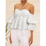 Pure Color Off Shoulder Halter Casual Loose Blouse For Women