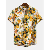 Mens Summer Floral Printed Turn Down Kragen Casual Shirts