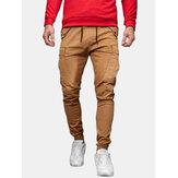 Мужской однотонный комбинезон со средней талией на шнурке и карманом Доставка Брюки