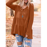 Women Solid Color V-neck Long Sleeve Daily Casual T-shirt
