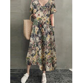Cotton V-Neck Floral Print Bohemian Vintage Maxi Dress with Side Pockets