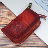 Men Vintage Genuine Leather Embossing Key Holder