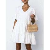 Mini-robe en coton à col en V et manches à volants pour femmes