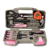 39Pcs الوردي أداة إصلاح مجموعة الأدوات المنزلية النسائية السيدات حمل الأدوات إصلاح صندوق القضية