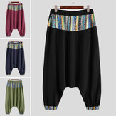 INCERUN Men Printed Harem Pants Cotton Ethnic Style Joggers Streetwear Loose Wide Leg Trousers Elastic Waist Loose Pants