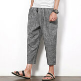 Summer Cotton Linen Nine Pants Men's Solid Color Loose Casual Haren Pants