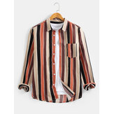 Cotton Mens Colorful Stripe Chest Pocket Lapel Collar Long Sleeve Casual Shirts