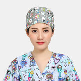 Cartoon Print Tie-back Surgical Caps Scrub Hat
