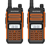 2PCS BAOFENG BF-S5plus 18W Waterproof UV Dual Band Handheld Radio Walkie Talkie Flashlight Hiking Interphone Orange US Plug
