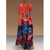 Damska 100% bawełniana sukienka maxi z boczną kieszenią i krótkim rękawem