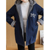 Casual Women Loose Fleece Zipper Denim Bluzy z kapturem