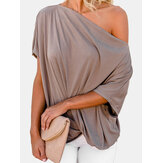 Women Off Shoulder Pleated Solid Color Loose Shirts