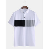Mens Color Matching Short Sleeved Casual Fashion Cotton Golf