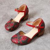 SOCOFY Ретро Кожаные туфли на каблуке с пряжкой