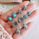 Vintage multi-combinatie oorbellen voor vrouwen Turquoise Mount Flower Moon Crown Water Drop Ear Stud Kit