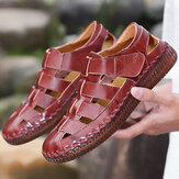 Men Genuine Leather Hand Stitching Hook&Loop Casual Sandals