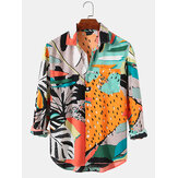 Mens Leaf & Mixed Print High Low Hem Long Sleeve Shirts With Pocket
