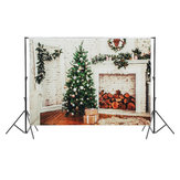 7x5ft White Fireplace Christmas Tree Photography Backdrop Studio Prop Background