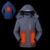 Jaqueta elétrica masculina TENGOO Traseira Abdômen 3 Zona de aquecimento 3 modos de carregamento USB Roupas térmicas reflexivas Jaqueta inteligente de inverno