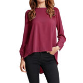 Casual Women Solid O Neck Long Sleeve Pleated Irregular Chiffon Blouse