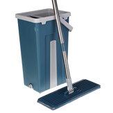 Fregona de apretón plana Fregona de acero inoxidable con escurrimiento libre de manos Fregona de limpieza en seco y mojada con 2 almohadillas de microfibra Juego de cubos azules
