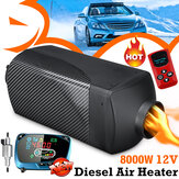 8KW 12V Car Diesel Air Parking Heater Black Carbon Fiber Color with Blue LCD Thermostat Remote Silencer For Truck Boat Trailer