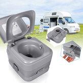 10L / 20L Toilette portatile avanzata per veicoli a grandezza naturale con risciacquo a pulsante, comò con pompa a pistone da viaggio in campeggio marrone chiaro