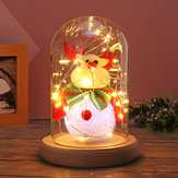 9x15cm Glass Dome Bell Jar Cloche Display Wooden Base With Fairy LED Light Decorations Christmas Gift